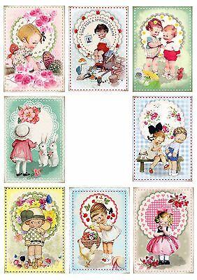 8 Retro Vintage Kids Spring/Summer Hang Tags Scrapbooking Paper Crafts (256) - Kids Spring Crafts