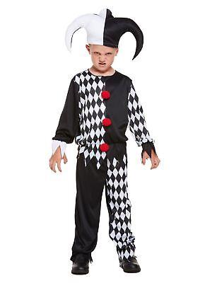 Horror Bösen Jester Clown Harlekein Joker Kinder Kostüm Halloween Fasching -
