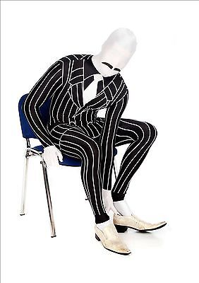 Black Morph Kostüm (Gangster Morphsuit Costume Adult Morph Suit Pinstripe Black White Bodysuit  XL)