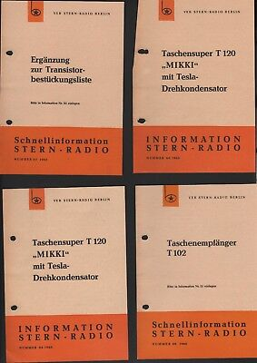 BERLIN, 4 x Prospekt 1965/66, VEB Stern-Radio Berlin Ergänzung zur Transistorbes