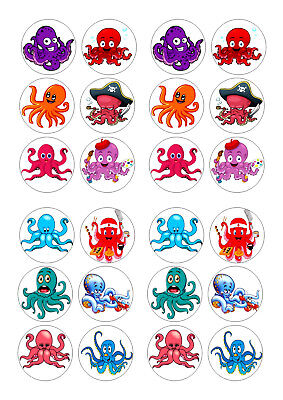 24 OCTOPUS  BIRTHDAY CUPCAKE TOPPER WAFER RICE EDIBLE FAIRY CAKE BUN TOPPERS