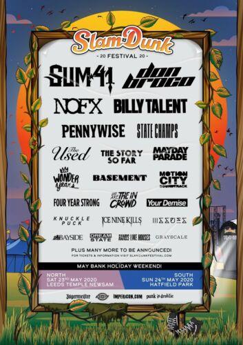 """SUM 41/NOFX """"SLAM DUNK FESTIVAL 2020"""" UK CONCERT TOUR POSTER-Punk/Alt Rock Music"""