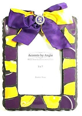 LSU Tigers 5x7 Mosaic Picture Frame w/ Purple & Gold Bow Tie by Accents by Angie Lsu Framed Pictures