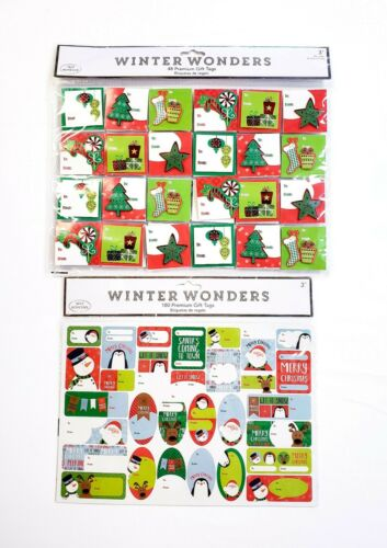 Winter Wonders Premium Christmas Holiday Gift Tag Bundle 228 Self Adhesive Tags