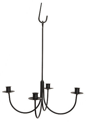 4 ARM WROUGHT IRON CANDLE CHANDELIER Amish Handmade Country Candelabra -