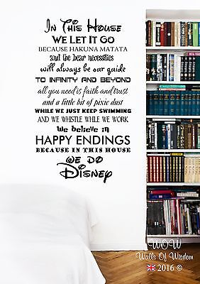 In This House We Do Disney Children Teenager Adult Wall Sticker Wall Art