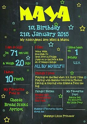 1st Birthday A3 Keepsake Personalised Chalk Board Style Print Sign Gift Present - 1st Birthday Board