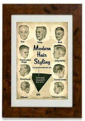 Retro 1950s Men's Hairstyles Barber Hair Styles Framed Print  - 1950s Hairstyles Mens