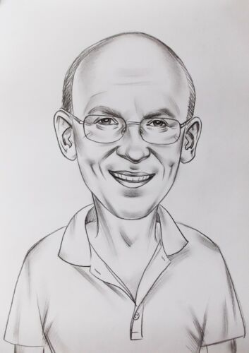 Personalized Custom Made Cartoon Pencil Caricature Portrait From Your Photo Gift