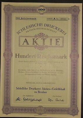 Schlesische Druckerei AG, Aktie Lt. A, Breslau 1925, selten