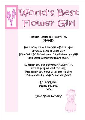 Personalised Thank You Gift Poem Keepsake for World's Best Flower Girl