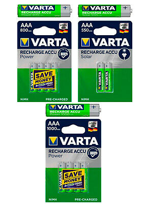 Varta Power Solar Akkus AAA Micro 550mAh / 800mAh / 1000mAH aufladbare Batterie