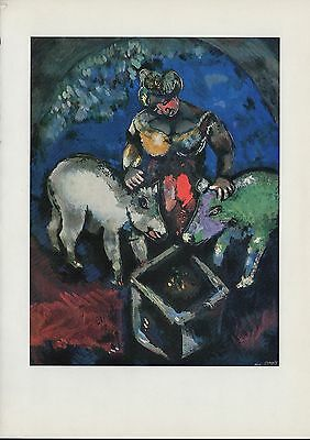 "1963 Vintage ""WOMAN WITH PIGS"" by MARC CHAGALL COLOR Art Lithograph"
