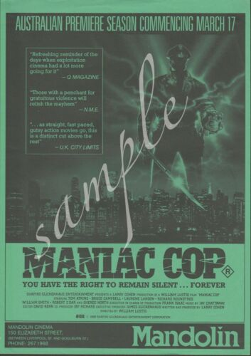 MANIAC COP in green, unique and rare Australian flyer from the Sydney Mandolin