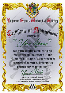 Harry Potter - Personalised Broomstick Proficiency Certificate and Pendant