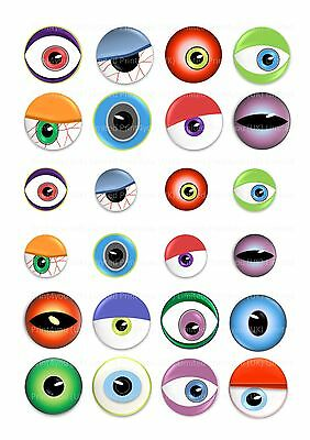 24 icing cupcake cake toppers decorations Halloween spooky monster eyes (Halloween Cupcake Icing Decorations)