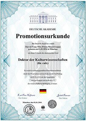 Premium Doktortitel, Promotionsurkunde, Zeugnis, personalisiert fälschungssicher
