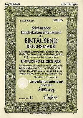 Sächsischer Landeskulturrentenschein 1000 Reichsmark Dresden 2. 1. 1941 KI26210