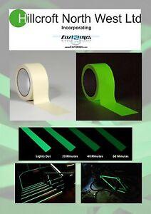 50mm x 1m Self Adhesive Photoluminescent Luminous Glow In The Dark Tape Safety