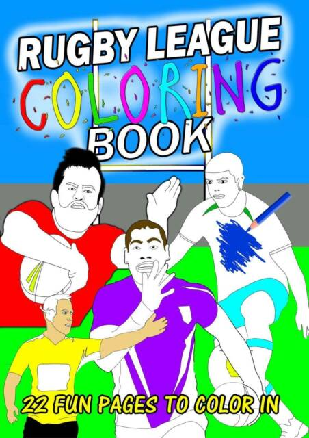 Rugby League Colouring Book 22 Pages Nrl Roosters Eels