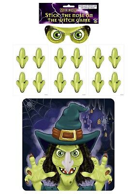 Pin the Tail on Donkey Game for HALLOWEEN Stick the Nose on Witch Blindfold Kids