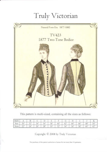 Sewing Pattern Truly Victorian TV423 1877 two-tone Bodice Jacket Blouse