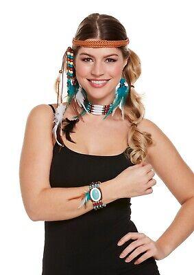 Indianerin Schmuck Set Haarband Ohrring Kette Armband Kostüm Zubehör Fasching  (Indianer Kostüm Schmuck Ohrringe)