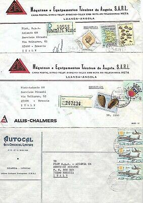 ANGOLA 1970' 8 COMMERCIAL COVERS LUANDA TO BRESCIA ITALY