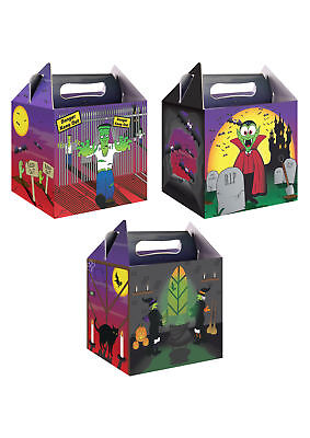 6 Halloween Party Boxes - Food Loot Lunch Cardboard Gift Childrens Kids - Halloween Spooky Party Food