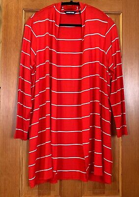 LANDS END RED & WHITE LONG CARDIGAN with FREE MATCHING SHIRT TAIL TEE LP VGC