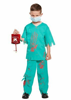 HALLOWEEN ZOMBIE SURGEON DOCTOR Boys Costume Kids Scrubs Fancy Dress Outfit -