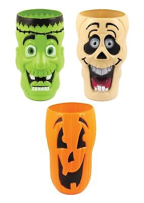 FRANKENSTEIN GHOST PUMPKIN HALLOWEEN CUPS SET OF 3 Kids Tableware Party Drink👻