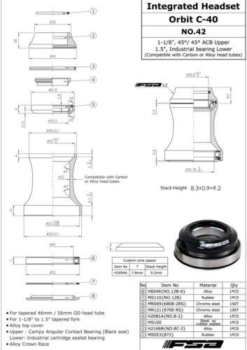 """Black 52 mm Tapered Headset FSA ORBIT C-40 Integrated 1-1//8/"""" 1.5/"""" ID 42"""
