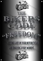 The Bikers Código ,libertad, Metal Sign.motorcycle Entusiastas, Coleccionable, -  - ebay.es