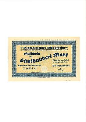 Rupertus 284.16a   Notgeldschein Stadt Schopfheim 500 Mk 12.10.1922