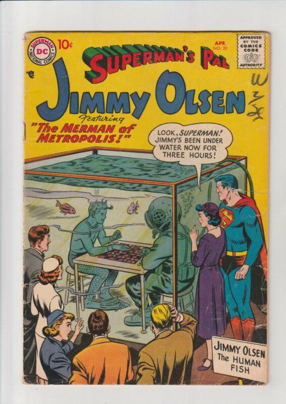 Jimmy Olsen 20 VG+ 1957 DC Comic Merman Swan