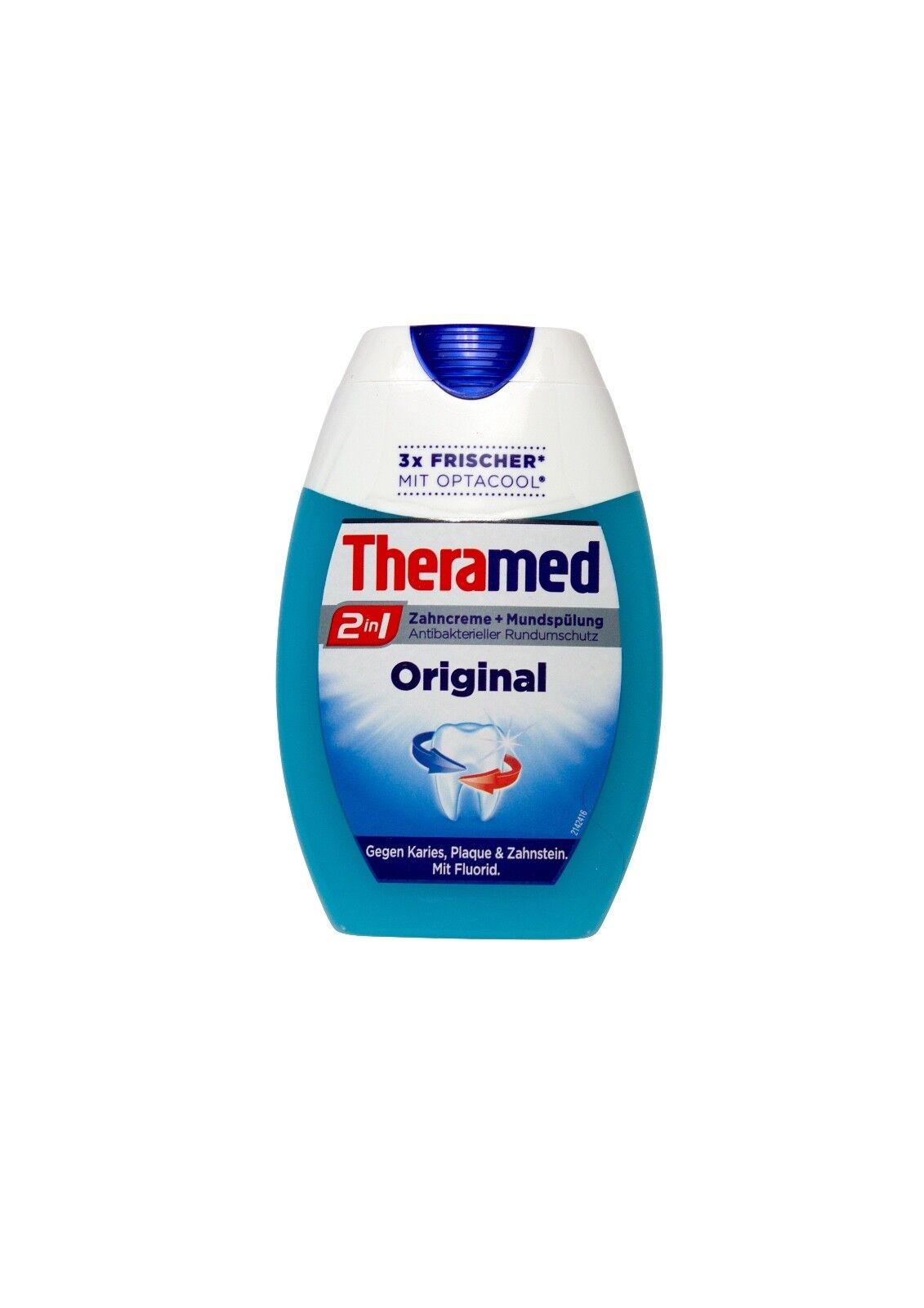 Theramed Zahncreme + Mundspülung 2in1 Original mit Optacool und Fluorid