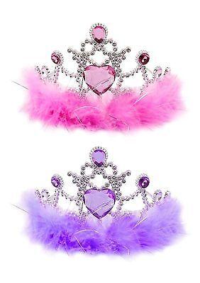 Girls Tiara with Fur Princess Crown Party Bag Filler Toy Pink and Purple ()