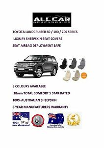 Toyota Landcruiser Sheepskin Car Seatcovers for 70/80/100/200 series Airbag safe