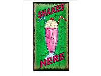 American Retro Style Diner Sign Cafe Sign Milk Shakes Retro Sign Kitchen Sign
