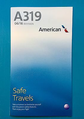 2016 AMERICAN AIRLINES SAFETY CARD--AIRBUS 319-- NEWEST VERSION