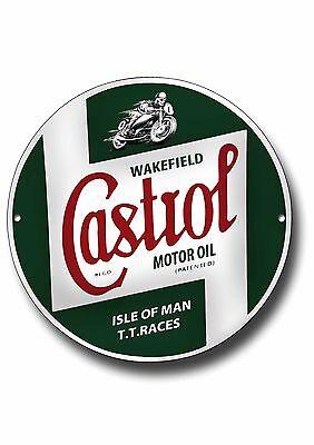 CASTROL TT RACES HIGH GLOSS FINISH METAL SIGN.IOM TT RACES ttround