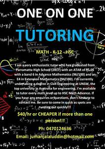 One on One Math Tutoring Selective NAPLAN High School