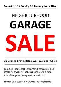 Neighbourhood garage sale! 18 & 19 January