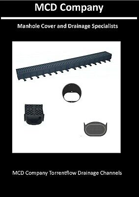 Shallow Drainage Channel 1m with Black Plastic Grates - MCD Company Torrent Flow