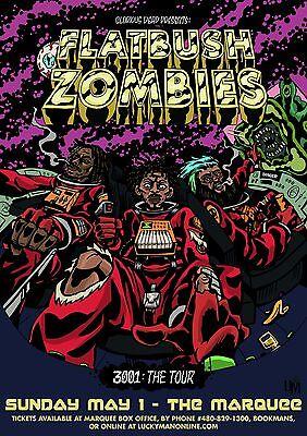 """FLATBUSH ZOMBIES """"3001: THE TOUR"""" 2016 PHOENIX CONCERT POSTER- Hip Hop,Rap Music"""