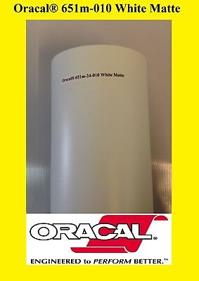 24 X 50 Yards Roll White Matte Oracal 651 Vinyl Adhesive Plotter Sign 010