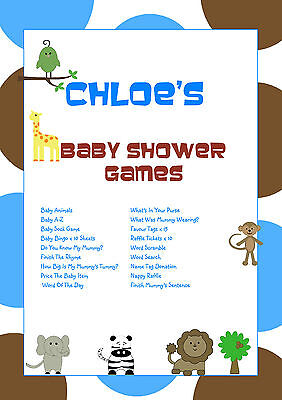 1 Personalised Baby Shower Party Games for 10 guests | Favour Tags | Blue Animal - Baby Shower Party Favors For Guests