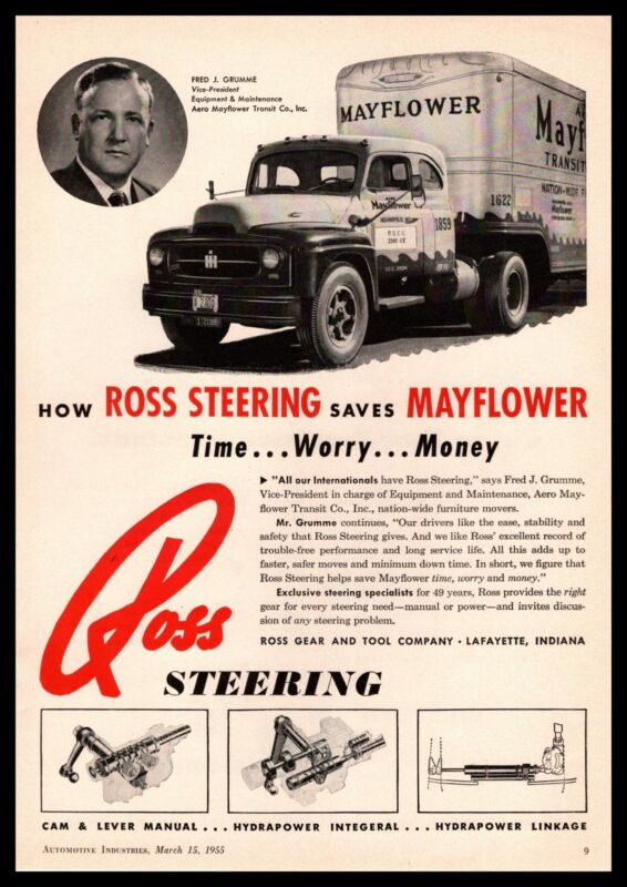 1955 Ross Gear & Tool Co. Lafayette Indiana Mayflower Moving Van Photo Print Ad