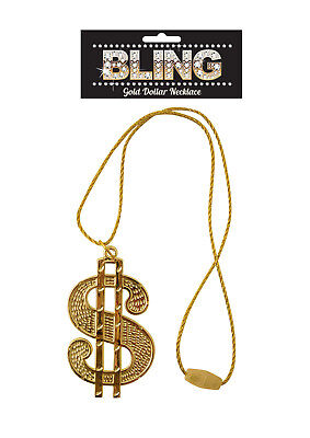 DOLLAR SIGN CHAIN NECKLACE Gangster Rapper Fancy Dress Pimp Stag Gold Bling Big